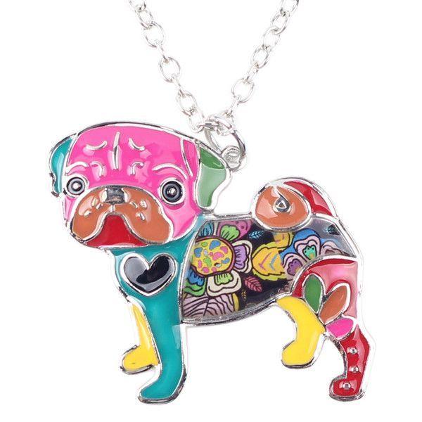 Metal Alloy Enamel Pug Dog Choker Necklace Chain Collar Bulldog Pendant Fashion Enamel Jewelry Women