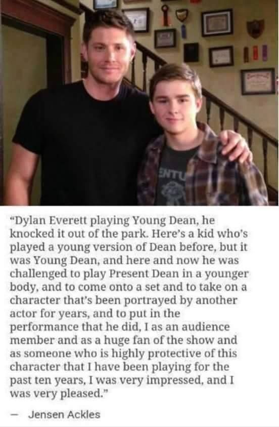 Jensen Ackles talking about Dylan Everett playing Dean