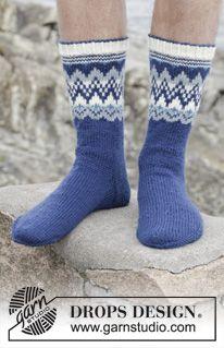 """Gebreide DROPS sokken met Noors patroon van """"Karisma"""". Maat 35 - 46 ~ DROPS Design"""