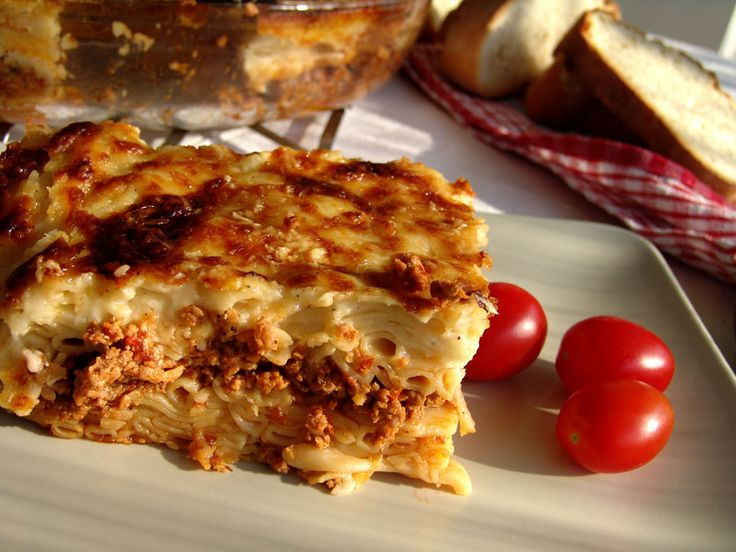 Traditional Pastitsio is loved by everybody, big or small, young or old. It is very tasty and filling and furthermore it is quite cheap.  You can serve it with some feta cheese, olives and a nice green salad.