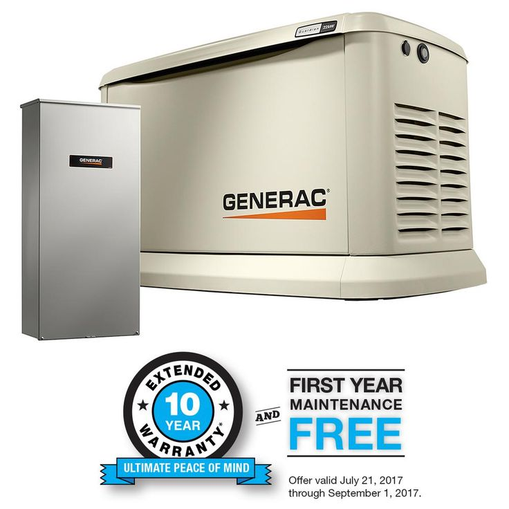 22,000-Watt (LP)/19,500-Watt (NG) Air Cooled Standby Generator with Whole House 200 Amp Automatic Transfer Switch