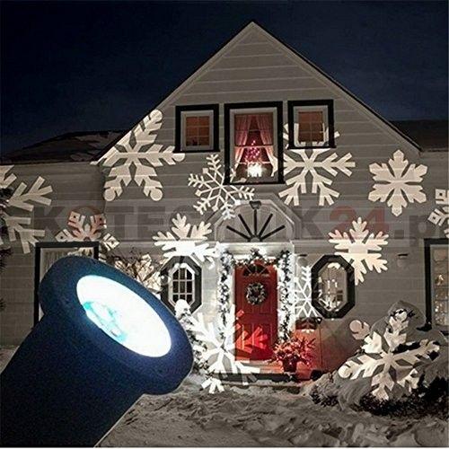 Projektor LED śnieżynki - Dekoracje świąteczne