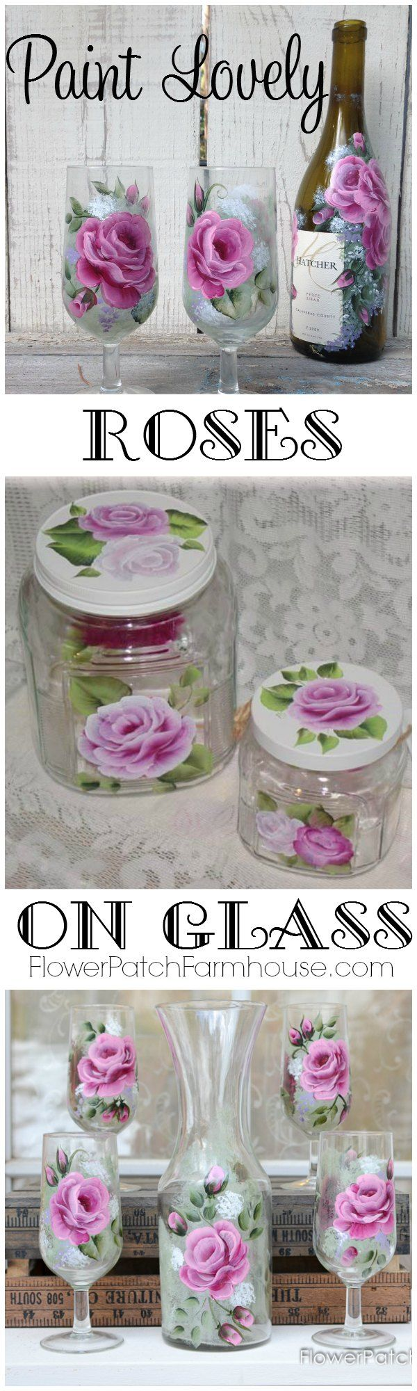25 best ideas about painting on glass on pinterest for How to paint a rose step by step