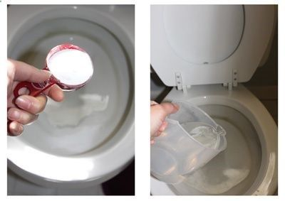 Hard water stains in the toilet. 1/4 cup borax, 1 cup vinegar, wait 20 mins scrub. Shine throne