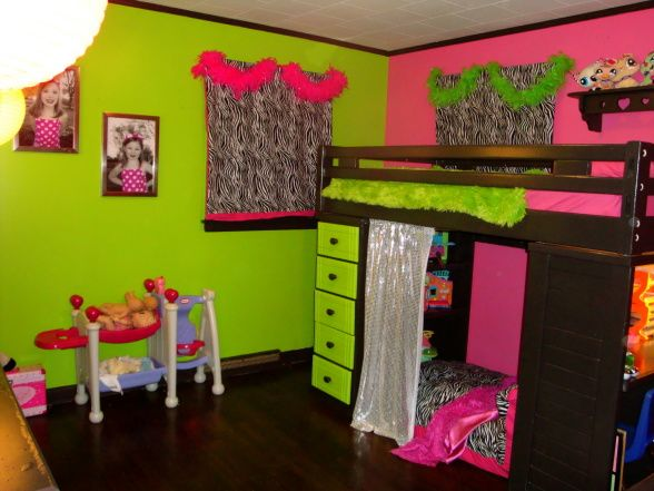 girls bedroom ideas pink and green