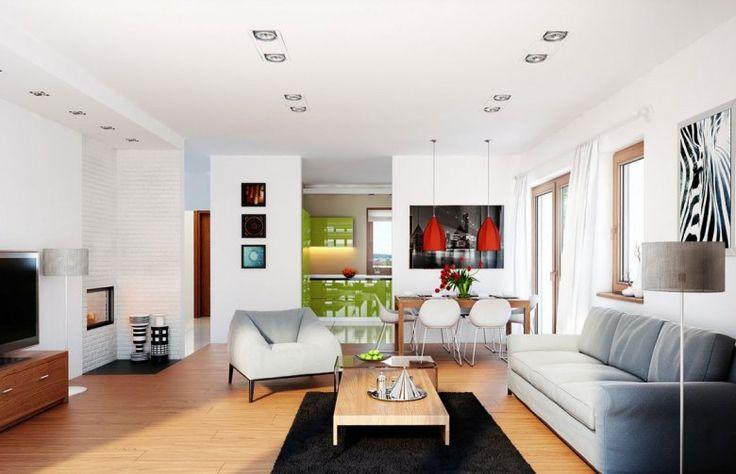 Trochę bardziej kolorowe wykończenie pokoju dziennego w projekcie domu AMARANTA G2 LECA®.
