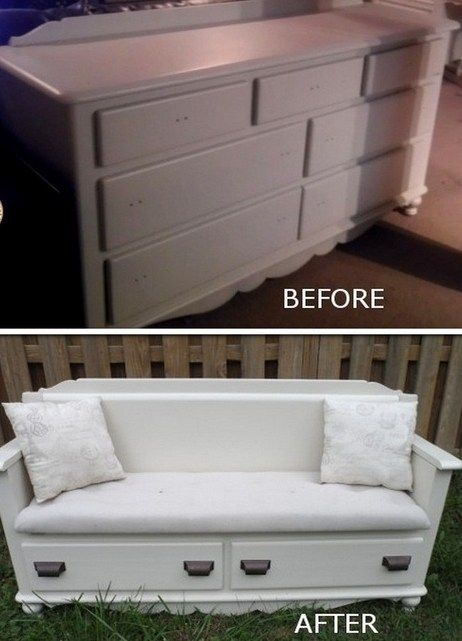 Old dresser to a bench upcycle