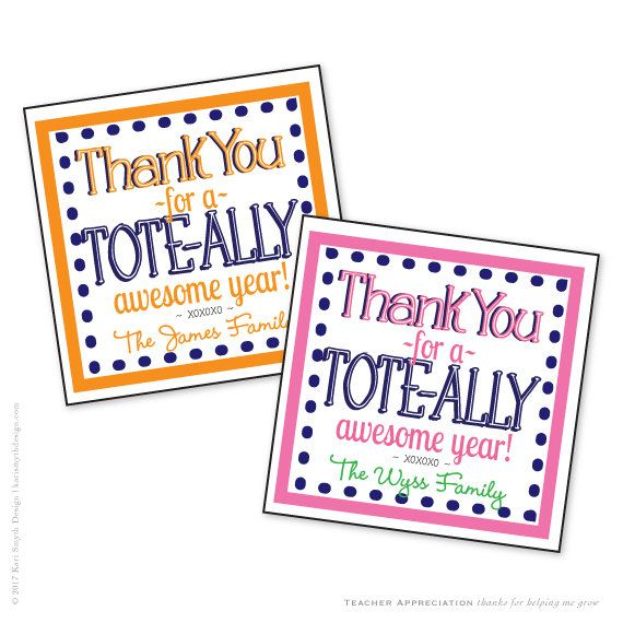 Tote-ally Awesome Year! Tote Bag Gift Tags. Great for ...