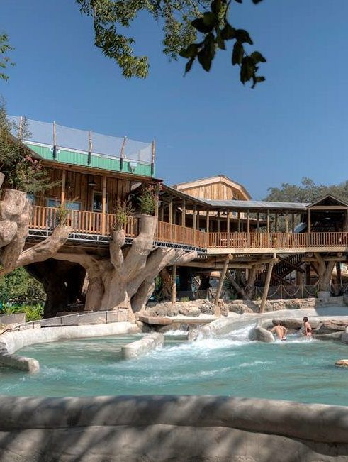 This amazing treehouse resort comes with its very own swimming hole.  It's the perfect Southern oasis... Schlitterbahn, New Braunfels, TX
