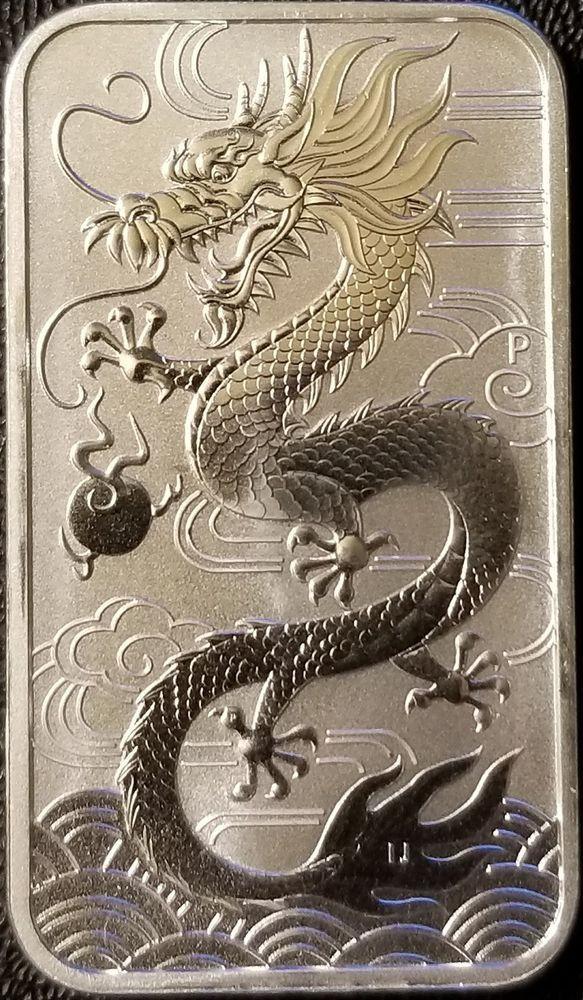 2018 Australia 1 Silver Dragon Bar 1oz 9999 Fine Silver Bullion Silver Bullion Silver Dragon Silver Bars
