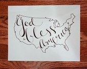 <3 USA: God Bless America Print