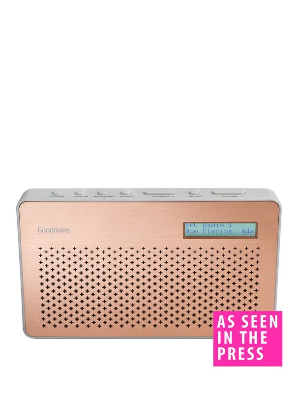 Enjoy your favourite radio stations any time, any place with the compact Goodmans Canvas Portable DAB Radio. Just 11 x 18.5 x 5.7 cm, it sits easily on a shelf or kitchen top – and be slipped into your bag to soundtrack a day out.Simple controls and portability lets you enjoy crisp, clear sound all around the home and a long battery life of 9 hours means you don't always have to be by a plug.DAB radio gives you superior reception quality and access to a wealth of digital only stations suc...