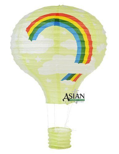"""Light Lime Rainbow Hot Air Balloon Paper Lantern by Asian Import Store, Inc.. $4.95. Fun, whimsical, decorative is a few words to describe this beautiful paper lanterns. This hot air balloon lantern has a Light Lime base color with white clouds and a rainbow print. Makes a perfect decoration for kid's parties, baby showers, birthday parties, etc.  Dimensions: 12""""W x 18""""L  (All lanterns sold without lighting, lighting options must be purchased separately)"""