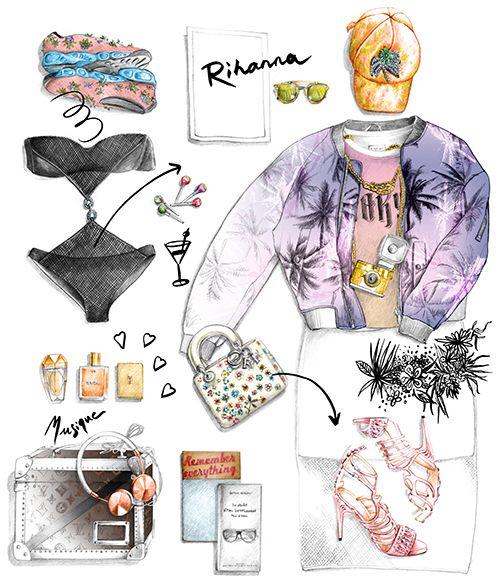 Illustration mode valise de Rihanna Florence Gendre Figaro Madame #dessin#mode#florenceGendre#rihanna