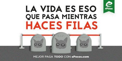 #MeVuelveLoco hacer filas. Mejor paga servicios y tiempo aire; envía y transfiere $$, en ePesos.com