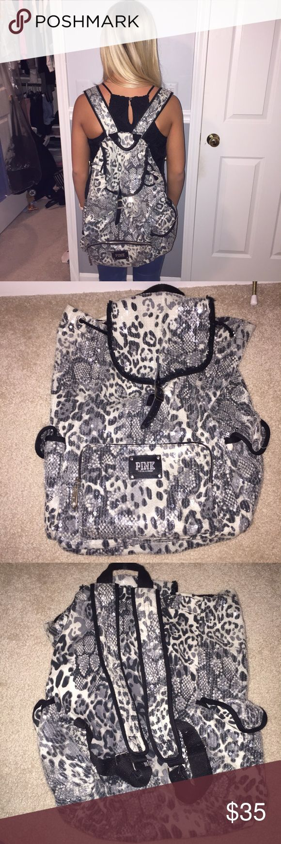 PINK cheetah sequin backpack PINK sequin cheetah backpack has lots of room for storage & is SUPER cute. Great for on the go or even for school. Used few times. PINK Victoria's Secret Bags Backpacks