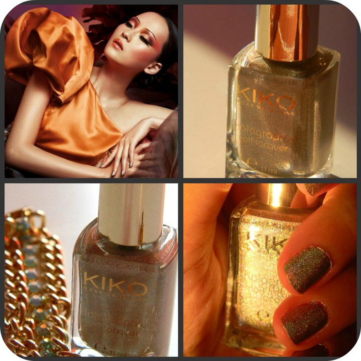 Kiko cosmetics: 399 silk taupe Holographic Nail Laquer