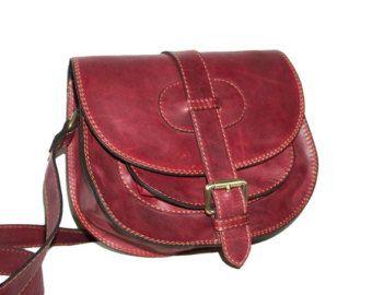 Brown Leather Saddle Bag Messenger Cross-body Purse Goldmann