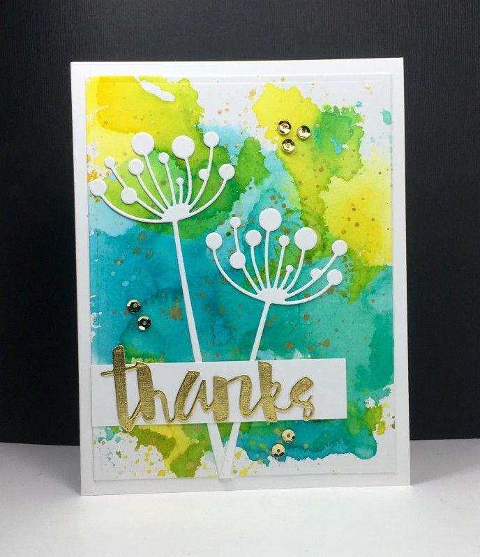 wedding thank you cards time limit%0A Thanks by beesmom  Cards and Paper Crafts at Splitcoaststampers  Memory  Box thank you CAS Simon Says Stamp smooshing watercolor SSS