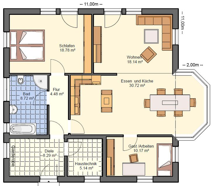 BGX14 Bungalow Grundriss 104qm 3 Zimmer Grundriss