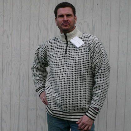 Norwool uldsweater, hvid med sorte tern