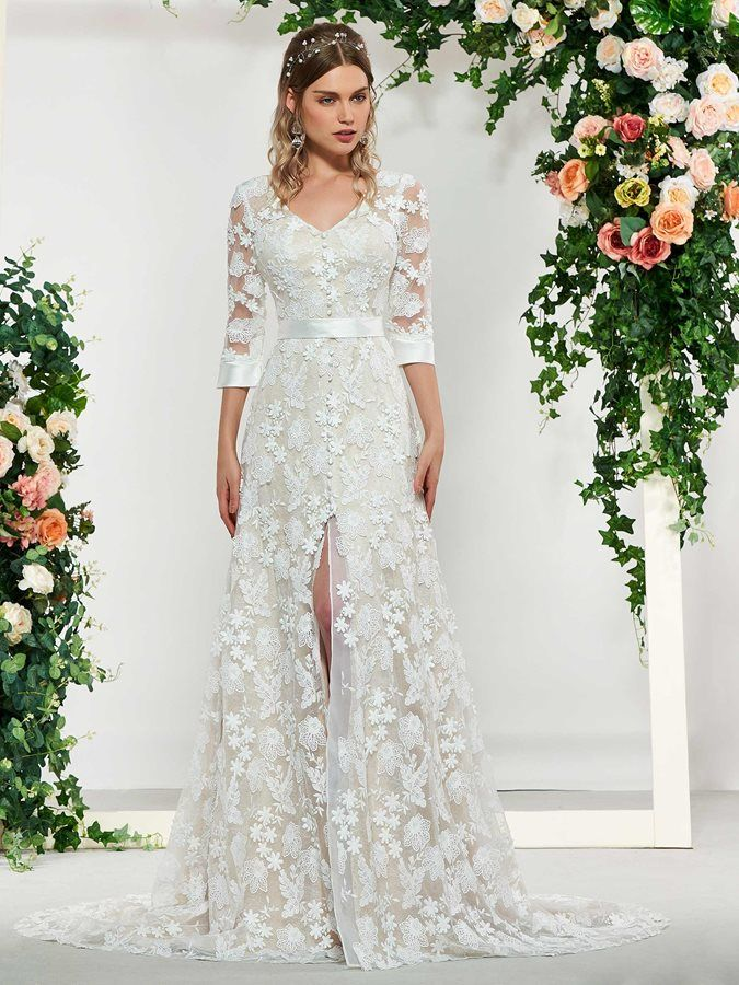 Split Front Buttoned Lace Wedding Dress 2019 With Sleeves Lace Wedding Dress With Sleeves Cheap Wedding Dress Wedding Dresses Lace