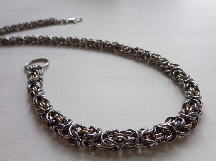 Wallets Chain, Biker/Unisex Wallets Chain, Stainless Steel/Anodized Aluminum Wallet Chain, Byzantine Chainmaille Wallet Chain, 2 Tone Chain by CreationsMIC on Etsy
