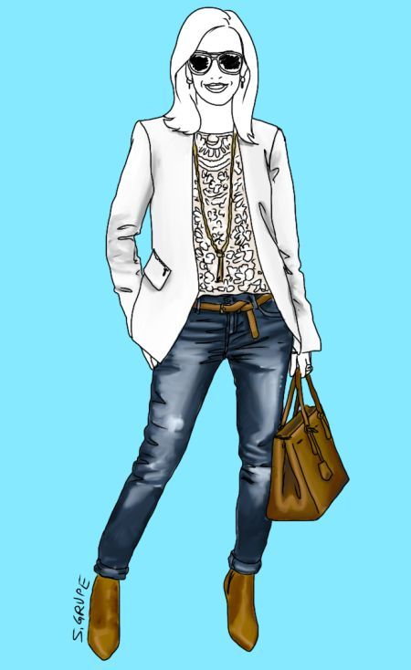 """Drei Eleganz-Level in einem Outfit: Die Jeans mit starker Waschung und der Gürtel sprechen """"Freizeit"""", der Blazer und die Ladybag sprechen """"Business"""", das Spitzen-Top hat feminin-festlichen Charakter."""
