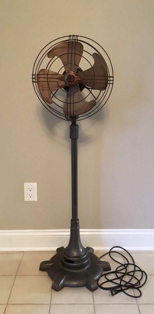 Vintage Industrial GE Vortalex Oscillating Pedestal Fan 3 Speed FM12M11 Art Deco