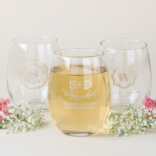 Personalized 15 oz. Stemless Wine Glass by Beau-coup