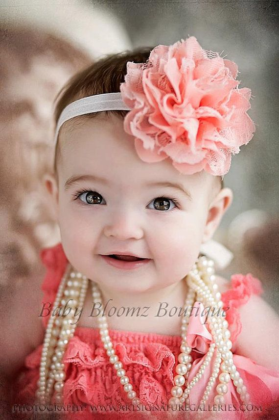 Baby Headband Girl Headband Peach Coral Lace by BabyBloomzBoutique, $7.95