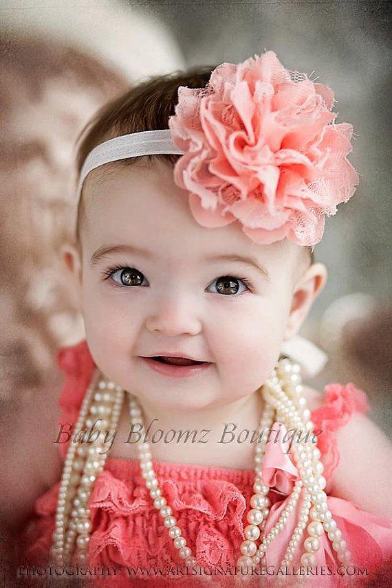 Baby Headband Girl Headband Peach Coral Lace Headband