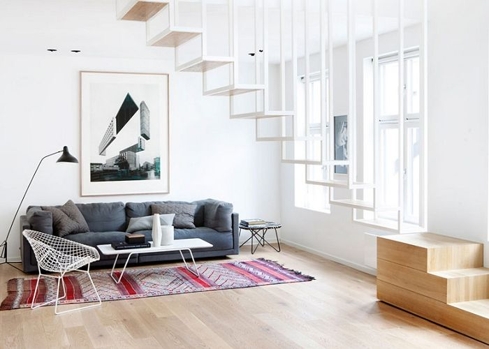 Floating Staircase in Stylish Oslo Apartment   NordicDesign