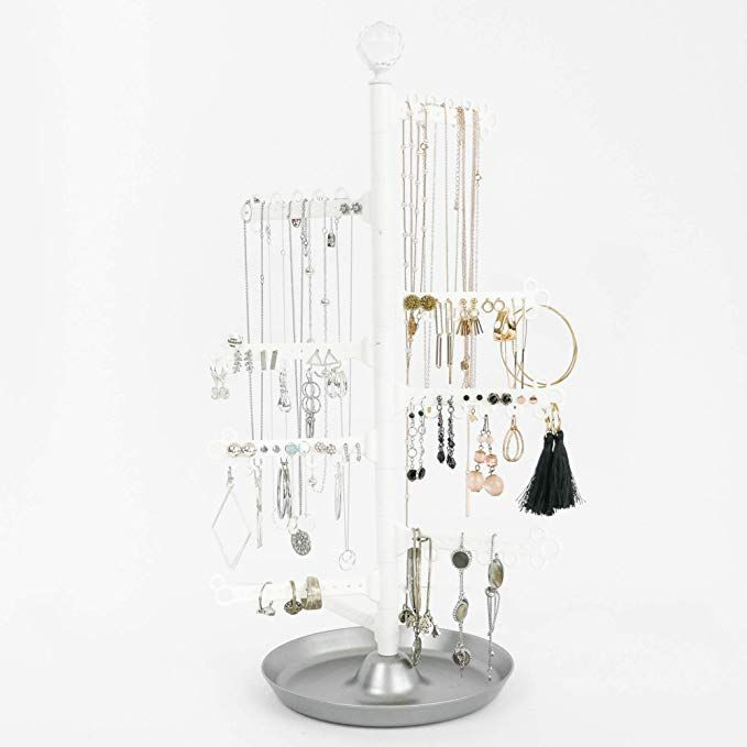 Amazon Com All Hung Up 12 Tier Extra Capacity Jewelry Organizer Holder Stand Tower Tree With Jewelry Organization Jewelry Holder Stand Jewelry Organizer Stand