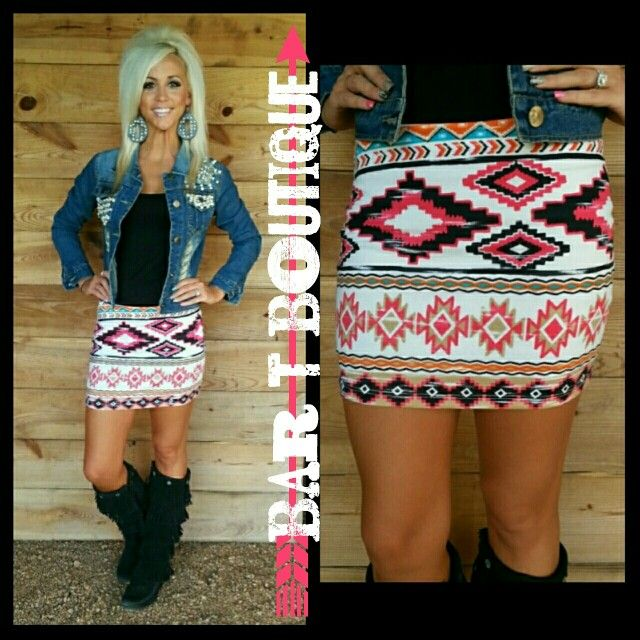 Southern Sass Skirt & Pearl Denim Jacket. Follow @bar_t_boutique on instagram to Shop!