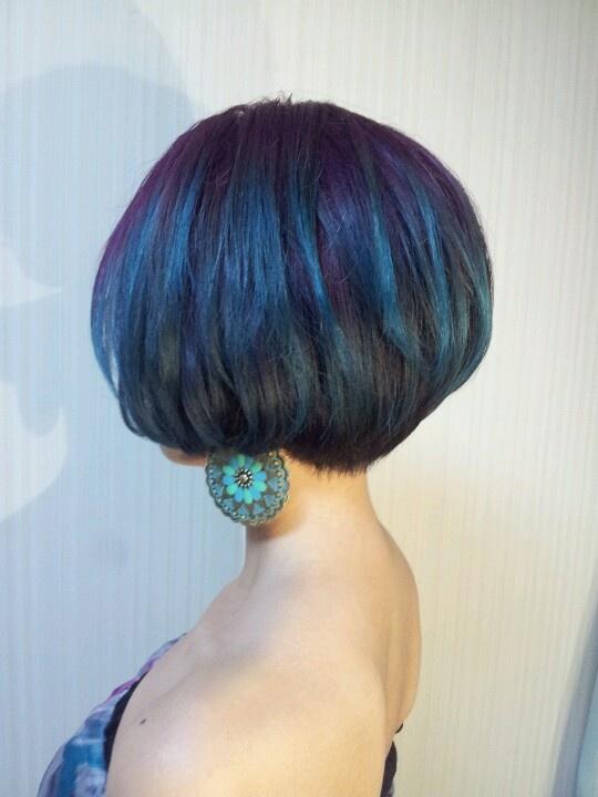 Purple Blue Ombre! Peacock Hair Color Short Hair Style