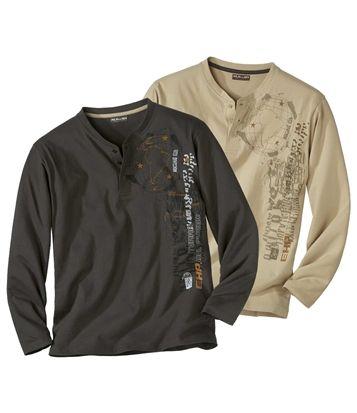 Lot De 2 Tee-Shirts À Col Grand-Père #atlasformen #avis #discount #livraison #commande