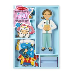 Whatever job Julia decides to take on, she can be dressed for success! Whether it's an astronaut, firefighter, doctor, superhero, artist, rock star, chef, or police officer, she is ready to tackle many tasks at a moment's notice. The set includes a magnetic wooden dress-up figure with a wooden stand and 24 magnetic clothing pieces to create eight occupational uniforms and outfits. The doll, stand, and pieces all store in a sturdy wooden tray. This unique dress-up doll helps kids three...
