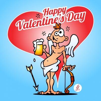 Cupido met een biertje op een kaartje. Happy Valentine's Day! #Sendasmile #Cardvibes #Tekenaartje #Valentijn #Valentijnsdag