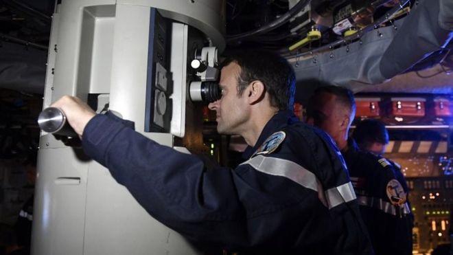 Emmanuel Macron aboard France's Le Terrible nuclear submarine