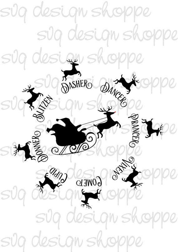 Reindeer Names Rudolph Digital File SVG Cut Files Santa Christmas Cookie Plate Vinyl Ready File Silhouette Cricut Commercial Use