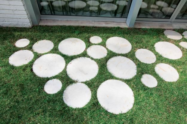 Prefabricated pavers from a local building supply company, arranged in a pattern reminiscent of champagne fizz.