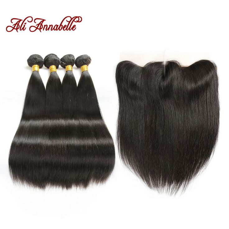 5PC/LOT8A Full Brazilian Lace Frontal Closure With Bundles Straight Hair With Closure 4 Bundles With Ear To Ear Lace Closure