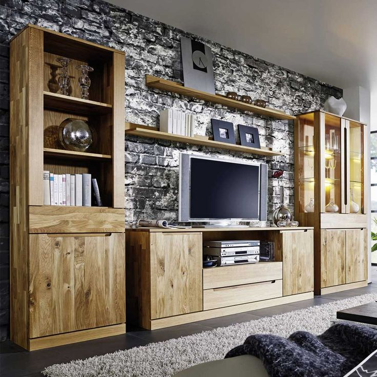 die besten 25 wohnwand massiv ideen auf pinterest alles. Black Bedroom Furniture Sets. Home Design Ideas