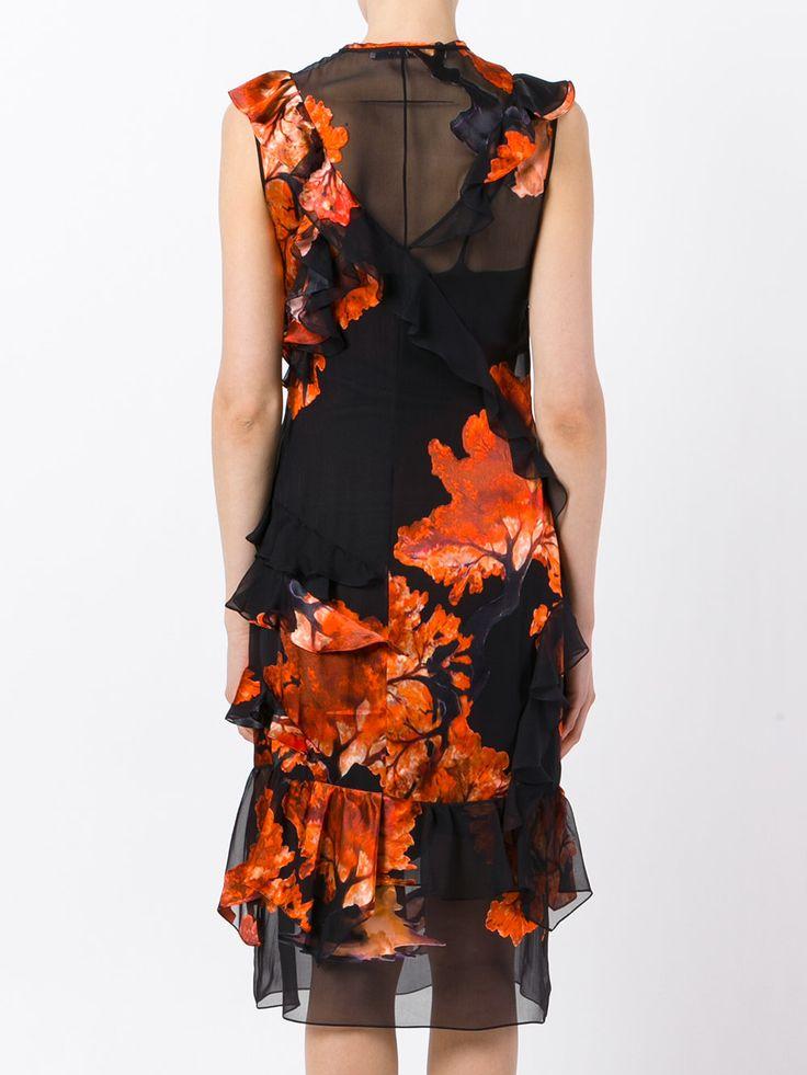 Givenchy платье с рюшами и цветочным принтом