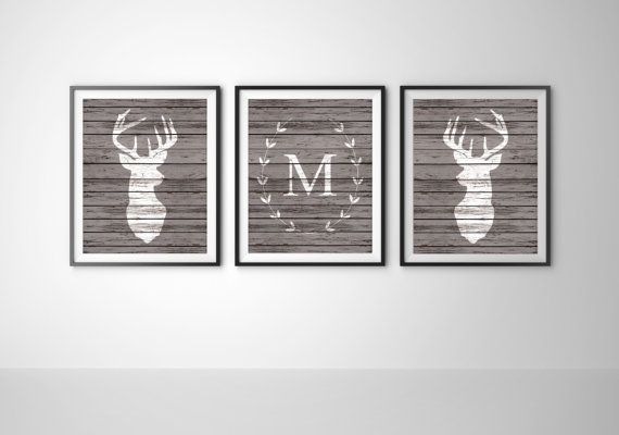 PREORDER Rustic Monogram Set of 3 Art Prints Deer by BySamantha