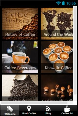 Everything you need and want to know about coffee.<p>Learn its history and geographical variation.<p>Get updated with the latest coffee beverages.<p>And try a list of delicacies to be cooked with the use of coffee.<p>Keywords: <br>Coffee locator, coffee shops, Starbucks, coffee bean, coffee, types of coffee, coffee drinks, coffee recipes.  http://Mobogenie.com