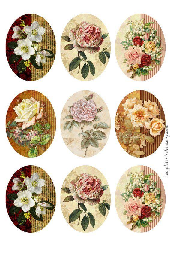 Digital Collage Sheet Vintage Roses 30x40 mm images Scrapbooking Pendants Printable Original Printable 4x6 inch sheet 91