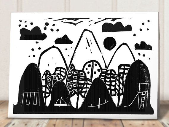 Linocut Art Card  Black and White by AprilleBroomhead on Etsy