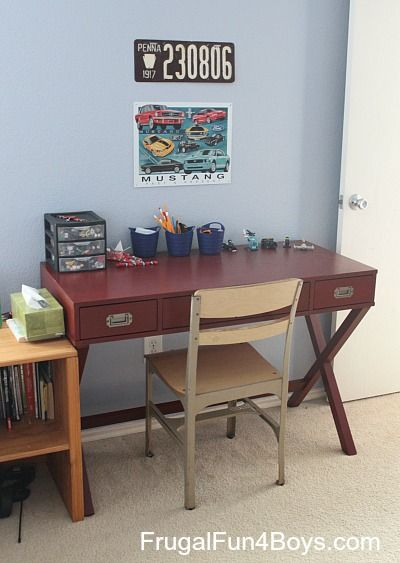 ideas for a car themed shared bedroom this space was designed for a 10 year - Boys Desk Ideas